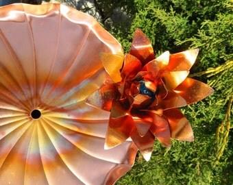 Garden Art Water Fountain Pond Birdbath Copper Lily Flower Container Style, Garden Fountain