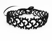 Gothic lace necklace choker satin ribbon - handmade lace jewelry dark goth steampunk victorian fashion vampire - black