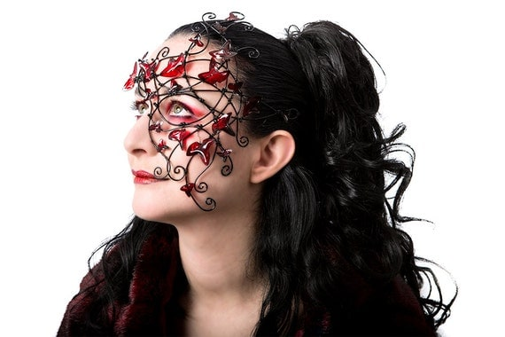 Black vine half mask with red leaves. Womens costume, accessories, handmade