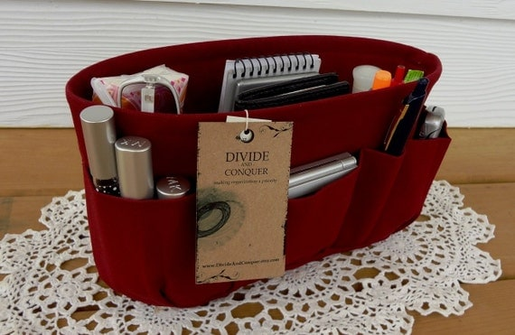 Burgundy / Purse ORGANIZER insert SHAPER / Bag organizer / STURDY / 5 Sizes Available / Check out my shop for more colors & styles
