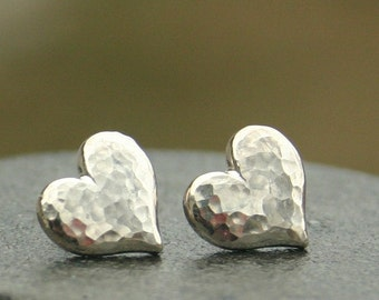 Large Hammered Heart Earrings in Sterling Silver