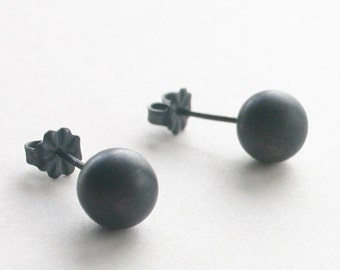 Black Stud Earrings ( Jumbo 8mm )