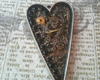 Clockwork Clutter with Black Crystal Heart Necklace