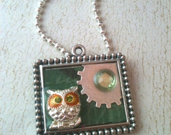 Owl and Gear Steampunk Necklace