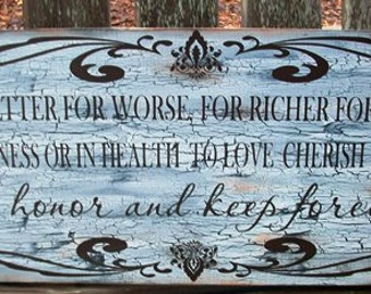 Wedding Vow Distressed Wood Sign