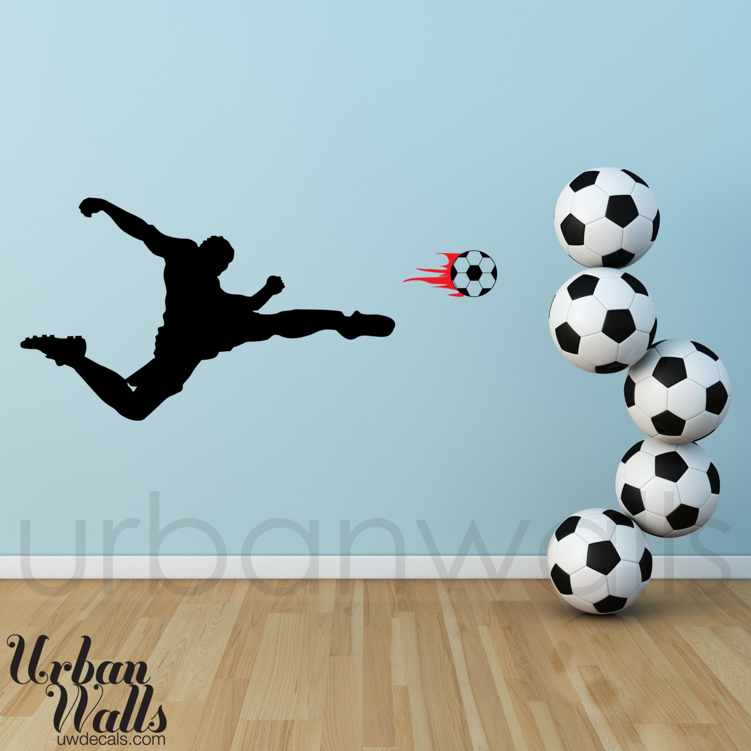 vinyl wall sticker decal art soccer player removable football soccer ball letter wall stickers art