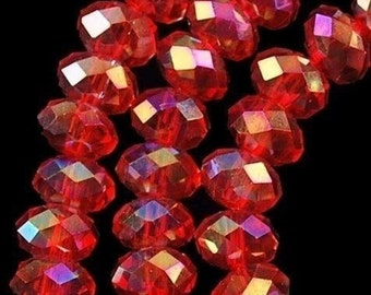 Red AB Crystal Beads Rondelle 4mm Qty 50