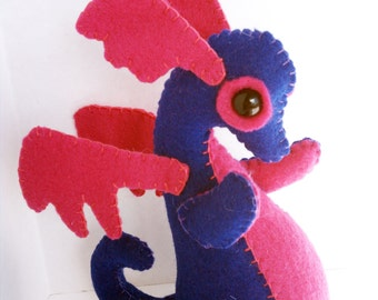 Baby Dragon felt plush stuffed animal- Dark blue with hot pink