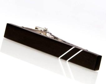 Tie Clip - Gaboon Ebony Silver Inlay Wooden Tie Clip - Black Ebony Tie Bar - Perfect Gift For Wedding, Graduation, Fathers Day, Birthday