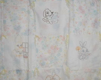 Baby Quilt, Hand Tied, Machine Embroidered Vintage Animals