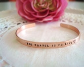 """Hand Stamped With The Words Of Your Choice 3/16"""" (3mm) 1/4"""" (6mm) 3/8"""" (9mm) Copper Cuff Bracelet Made To Order Customized Personalized"""