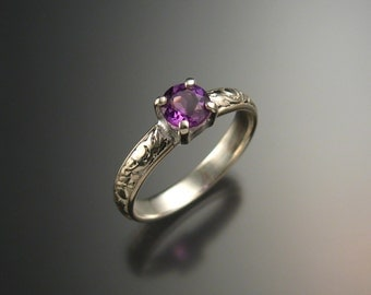 Amethyst Wedding ring Sterling Silver, made to order in your size