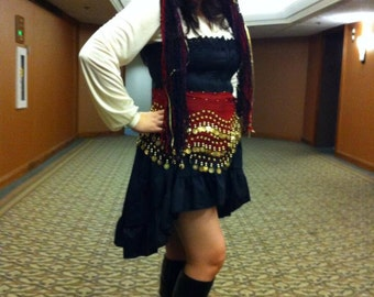 Hi Lo Wenchling High Low Pirate Mori Girl Skirt Asymmetric  Cotton Ruffled Wench Steampunk