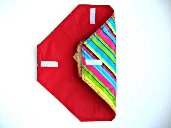 SALE - Reusable Sandwich Wrap and Placemat - Bright Stripes with Red Lining