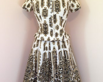 Vintage 50s One Of A Kind VERSACE Looking Patterned High Fashion Haute Couture KOBLER Dirndl