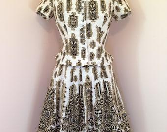 Vintage Dirndl Dress - One Of A Kind Patterned Suit - 50s VERSACE Style - High Fashion Haute Couture  - KOBLER Dirndl