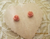 Resin rose earrings - cute rose earrings - rose earrings - pink rose earrings - jewelry
