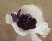 Girl's Easter Hat - white and royal purple - Stunning colors - Easter Bonnet - Church or Wedding hat