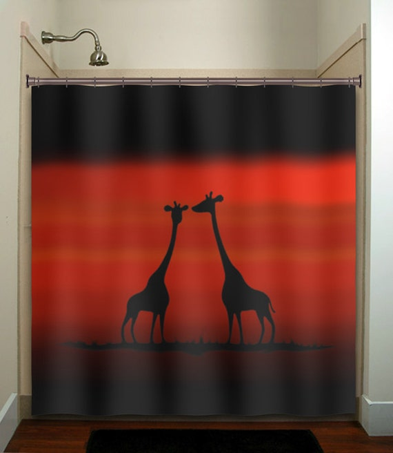 Red sunset giraffes shower curtain bathroom by tablishedworks for Sunset bathroom designs