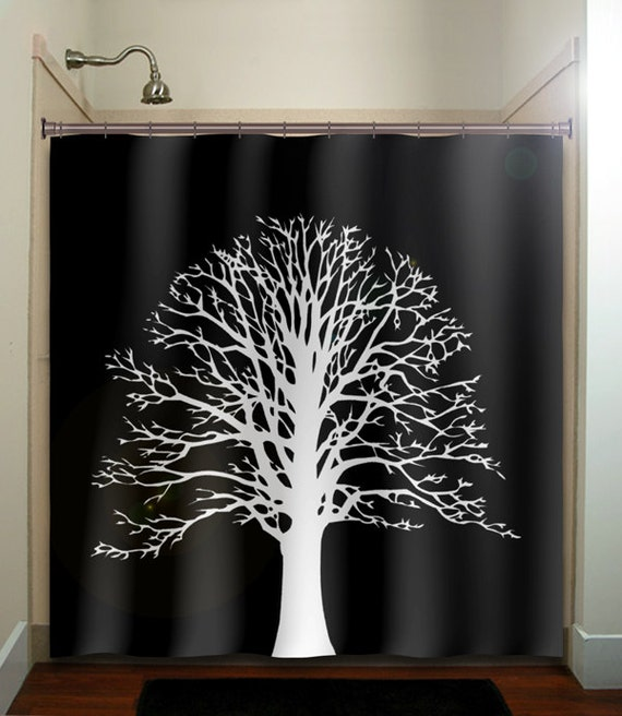 white oak tree shower curtain bathroom decor fabric kids bath