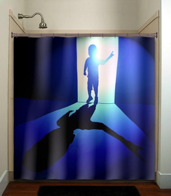alien kid little boy blue shower curtain by tablishedworks