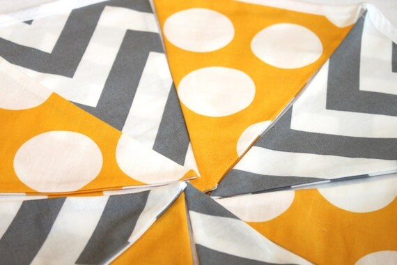 Large Fabric Bunting - Yellow Dot with Gray Chevron