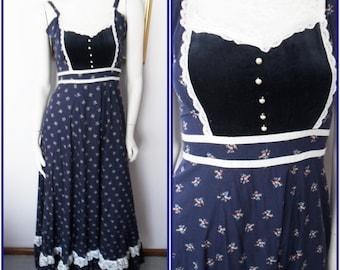 Vtg.70s Gunne Sax Navy Calico Velvet Lace Bib Maxi Sun Dress.S.Bust 32.Waist 26.