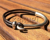 women brown leather bracelet sterling silver plated half bracelet cuff button clasp  leather handmade jewellery