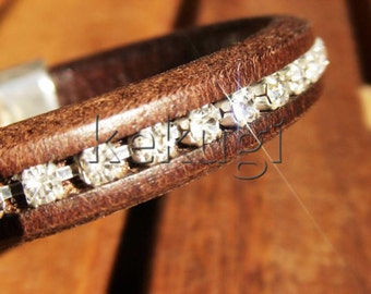 brown strass womens licorice leather bracelet with sterling silver plated  clasp