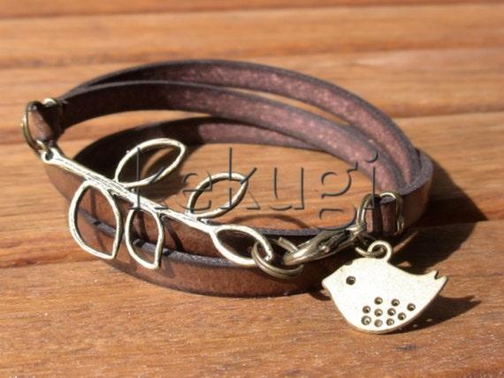 bird bracelet, womens bracelets, bronze bracelet, leather bracelet, beaded Bracelets, fashion jewelry, accessories, charm Bracelet