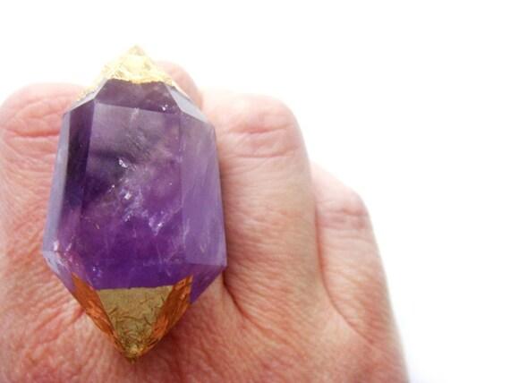 24K Gold Amethyst Crystal Point Ring