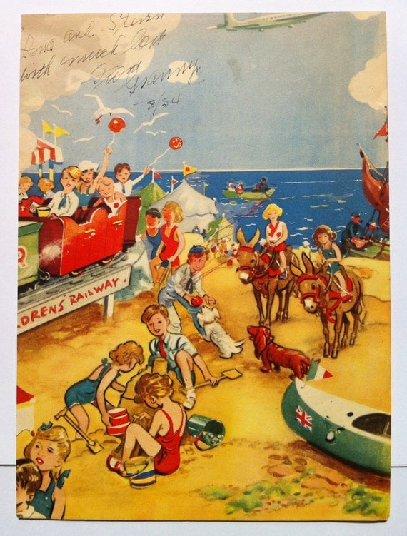 Vintage Beach Scene Illustration