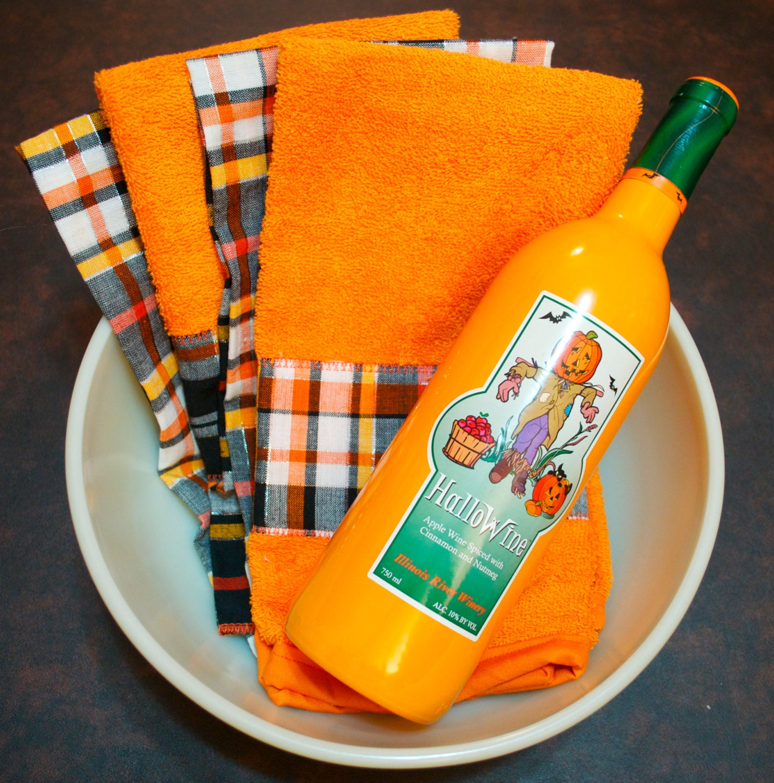 Kitchen Set Orange: Halloween Kitchen Dish Towel Set Orange Plaid