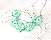 Mint green fabric necklace, fabric beads, pastel textile necklace, light green necklace,  Statement Jewelry