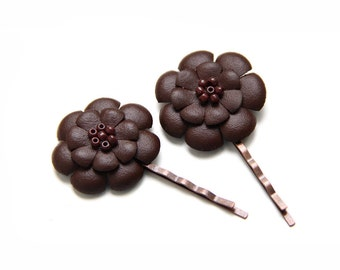 ALL funds are going to cat shelter - Brown leather flowers bobby pins - set of 2