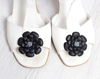 Black leather flower Shoe Clips party