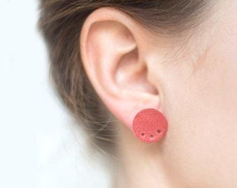 Pink Geometric Earrings Circle Leather Earrings studs