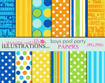 Boys Pool Party Cute Digital Papers Backgrounds for Invitations, Card Design, Scrapbooking, and Web Design