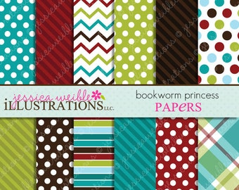 Bookworm Princess Cute Digital Papers Backgrounds for Invitations, Card Design, Scrapbooking, and Web Design