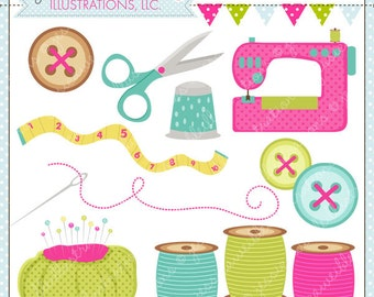 Crafty Sewing Cute Digital Clipart for Commercial and Personal Use, Sewing Clipart, Buttons