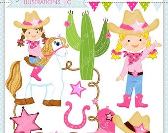 Cowgirl Up Cute Digital Clipart for Commercial or Personal Use, Cowgirl Clipart, Cowgirl Graphics