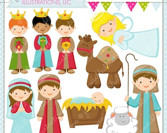 Christmas Nativity Cute Christmas Digital Clipart for Commercial or Personal Use, Christmas Clipart, Christmas Graphics