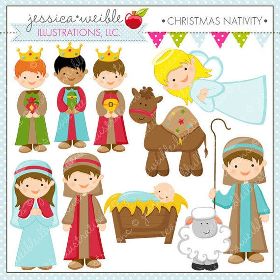 Christmas Nativity Cute Christmas Digital Clipart For