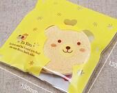 20 Lemon Cute Bear Self Sealing Cellophane Bags (5.1 x 5.1in)