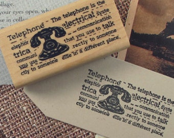 Vintage Telephone & Text Stamp (2.4 x 1.2in)