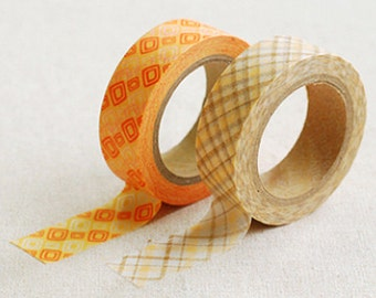 2 Set - Aileen Orange Brown Check Adhesive Masking Tapes (0.6in)