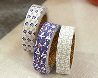 3 Set - Snow Bell Flower Navy Tree Leaf Adhesive Fabric Tapes (0.6in)