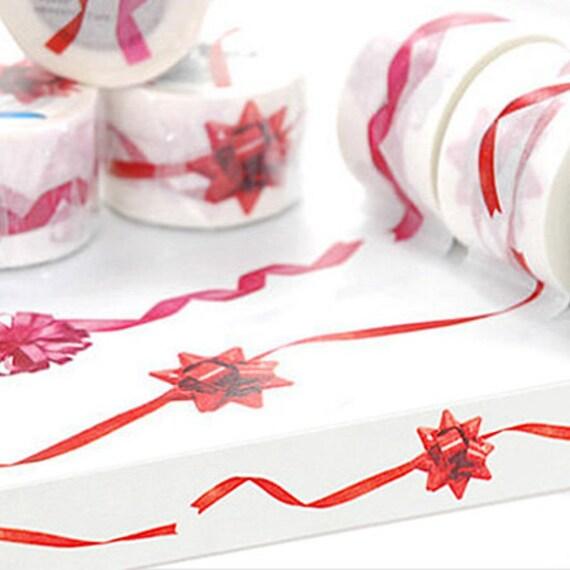 Gift Wrap Ribbon Adhesive Masking Tape - Red (1.4in)