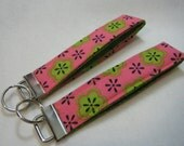 Key Fob Pink with Green Flowers