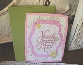 Card for mom pink and green floral Postcard style card Your the greatest Mom Thank you mom Card